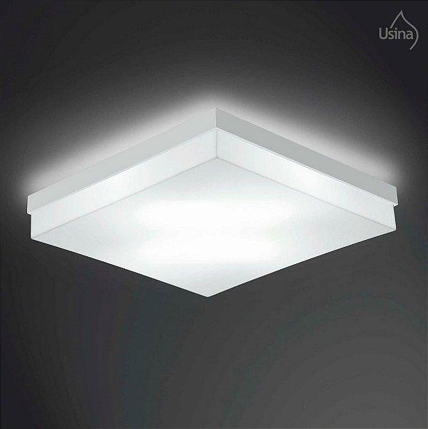 Plafon Usina Design Sobrepor  acrílico leitoso Quadrado Branco 32x32 Flutua E-27 3900/32 Quartos Cozinhas