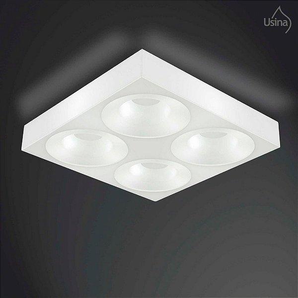 Plafon Usina Design Sobrepor  acrílico leitoso Quadrado Branco 60x60 E-27 10044/8 Varandas Salas
