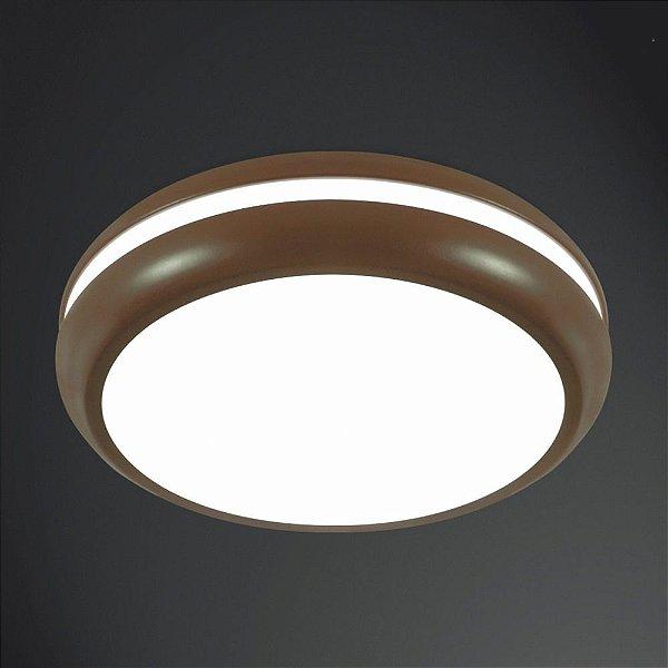Plafon Usina Design Sobrepor  acrílico leitoso Redondo Marrom Texturizado Ø30 Big E-27 4130/30 Sala Estar Quartos