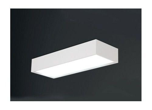 Plafon Usina Design Sobrepor  acrílico leitoso Retangular 24x65 Tropical E-27 4024/65 Sala Estar Quartos