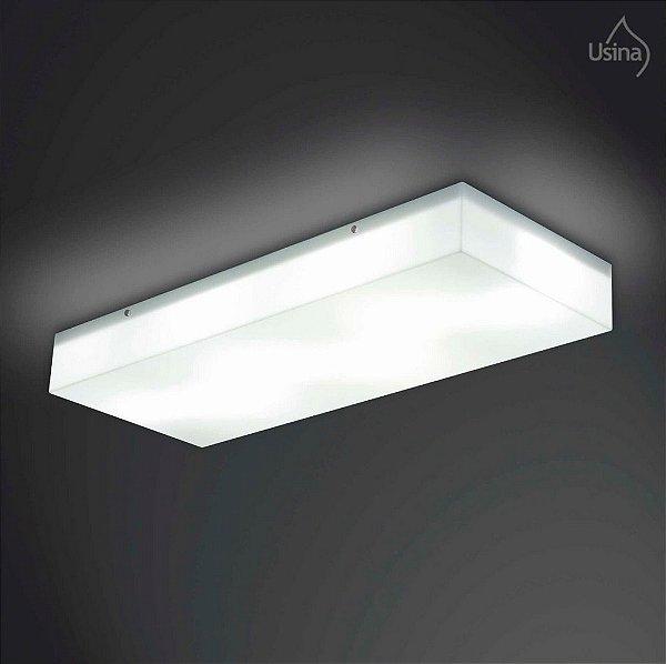 Plafon Usina Design Sobrepor  acrílico leitoso Retangular 27x69 Polar E-27 10127/69 Cozinhas Salas