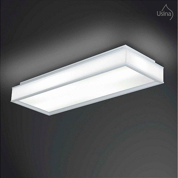 Plafon Usina Design Sobrepor  acrílico leitoso Retangular Branco 24x37 Esplendor E-27 3052/4 Sala Estar Varandas