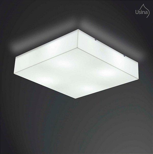 Plafon Usina Design Sobrepor Quadrado  acrílico leitoso Branco Leitoso 26x26 E-27 POLAR 10100/26 Sala Quarto