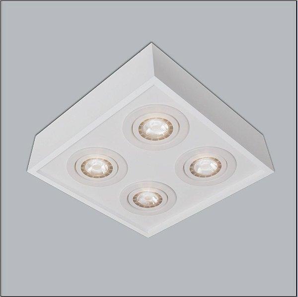 Plafon Usina Design Sobrepor Quadrado Metal Branco 25x25 Premium Par20 4501/25 Sala Estar Quartos