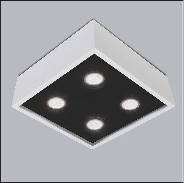 Plafon Usina Design Sobrepor Quadrado Metal Branco Preto 25x25 Premium Dicróica 4500/25 Escritórios Salas