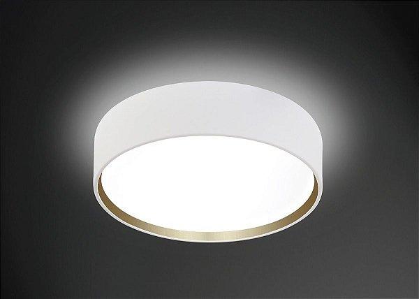 Plafon Usina Design Sobrepor Redondo Metal Branco  acrílico leitoso Leitoso 35cm Onix E-27 4100/35 Sala Estar Escritórios