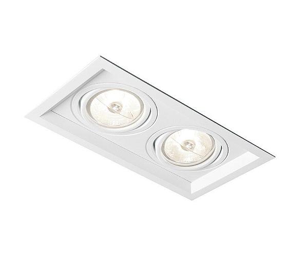 Spot Newline Iluminação Recuado Duplo II Embutir Metal Branco 9x20cm 2x GU10/GZ10 PAR16 50W IN50322BT Tetos e Gesso