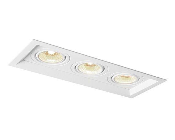 Spot Newline Iluminação Recuado Triplo II Embutir Metal Branco 28x7,5cm 3x GU10/GZ10 PAR16 50W IN50323BT Tetos e Gesso