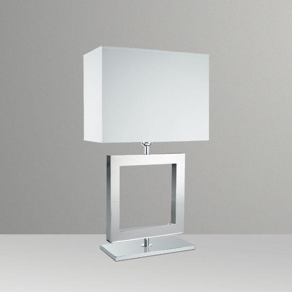 Abajur Golden Art Metal Cromo Quadrado Contemporâneo Cúpula Tecido 110v 220v Bivolt 66cm Altura (H) E-27 M632-ME Quartos Salas