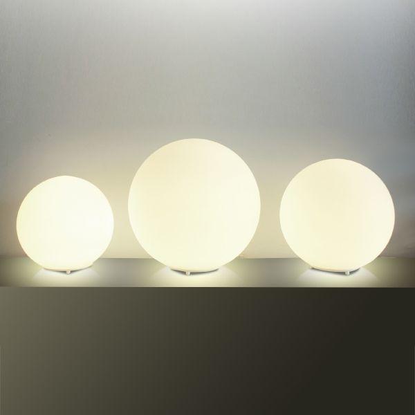 Abajur Golden Art Contemporâneo Esfera Opalina Cúpula Vidro Fosco 35cm Altura (H) E-27 M755-35 Mesas de Canto Salas