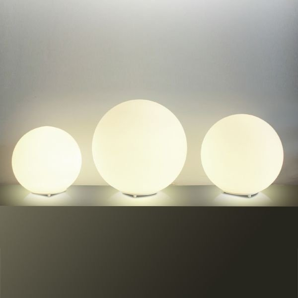 Abajur Golden Art Contemporâneo Esfera Opalina Cúpula Vidro Fosco 42cm Altura (H) E-27 M755-42 Mesas Quartos