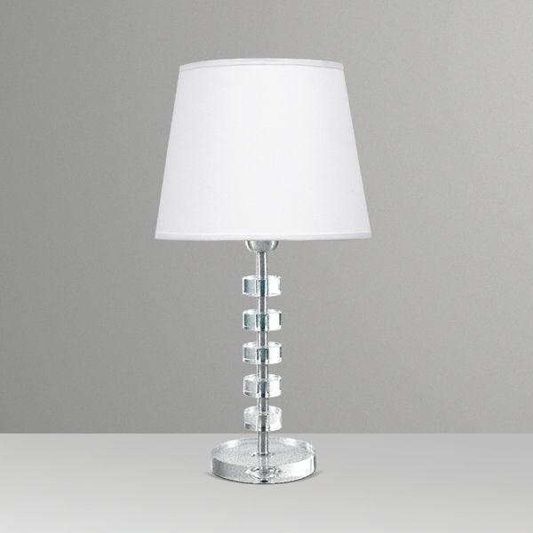 Abajur Golden Art Contemporâneo Cristal Intercalado Cúpula Tecido 110v 220v Bivolt 50cm Altura (H) Elos E-27 M086 Quartos Salas