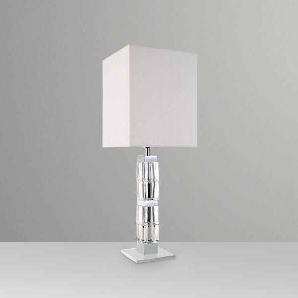 Abajur Golden Art Vidro Cristal Trabalhado Cúpula Quadrada Tecido 110v 220v Bivolt 74cm Altura (H) Ice E-27 M686 Quartos Salas