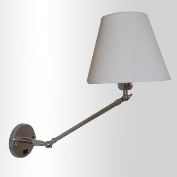 Arandela Golden Art Angle Com Articulação Metal Cupula Tecido 50cm 1x Lamp. E27 110v 220v Bivolt P470 Quartos Escritórios Home Office