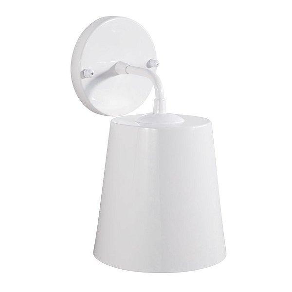 Arandela Golden Art Brida Cupula Cone Metal Branco 16x11cm 1x Lamp. E27 110v 220v Bivolt P760 Quartos Entradas