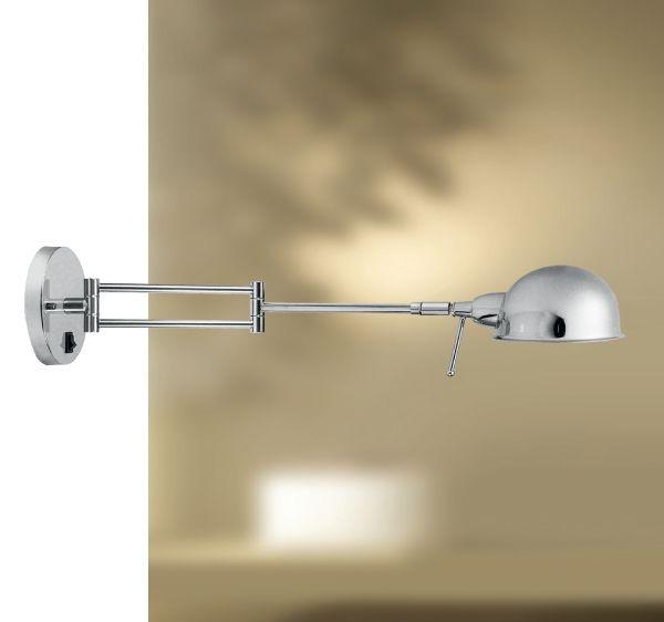 Arandela Golden Art Amb. Interno  Com Articulação Metal Cromo 1/2 Esfera 55cm Danny P685 Quartos Salas