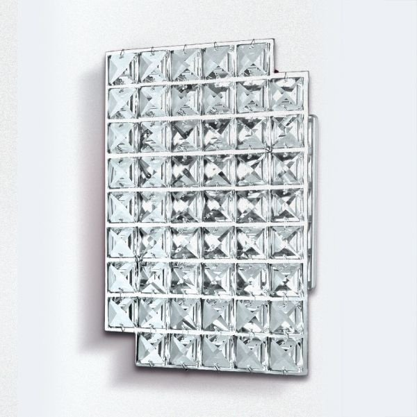 Arandela Golden Art Placa Retangular Cristal Asfour Translucido 22x15 G9 PC004 Quartos Salas