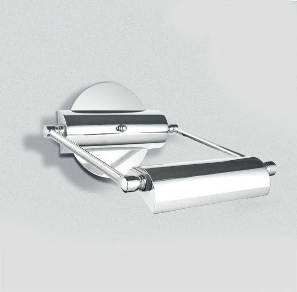 Arandela para Iluminar Quadro e Espelho Alumínio Inox Cromado Cúpula20cm Golden Art Halógena P302 Banheiros