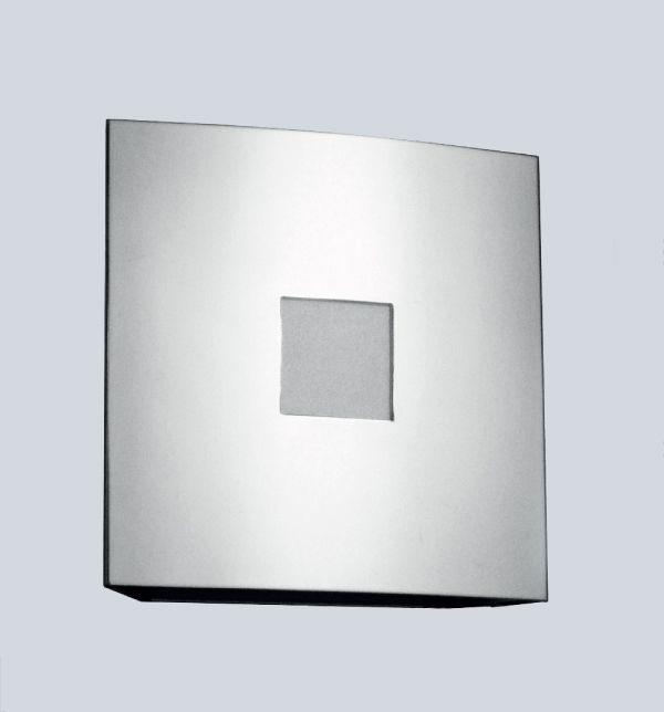 Arandela Golden Art Quadrada Curva Metal Cromo Fosco Luz Frontal 20x20 E-27 P383 Quartos Salas