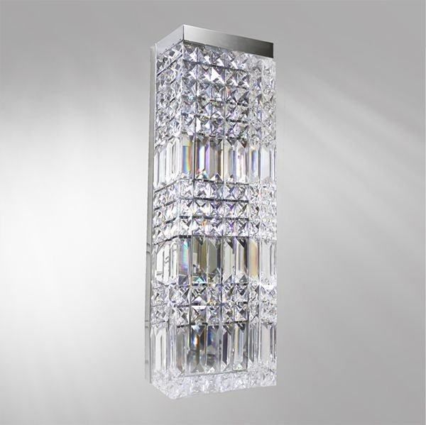 Arandela Golden Art Retangular Cristal Asfour Trabalhado Luminária Metal Cromo 15x10 Laila P923 Quartos Salas