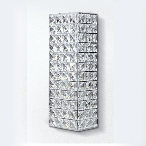 Arandela Golden Art Retangular Amb. Interno Cristal Asfour Translucido 29x10 G9 PC005 Entradas Salas