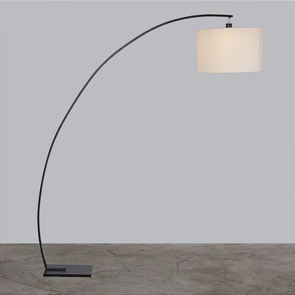 Coluna Golden Art Arco Metal Curva Preto Cupula Tecido 190x205cm 1x Lamp. E27 110v 220v Bivolt C952 Sala Estar Quartos