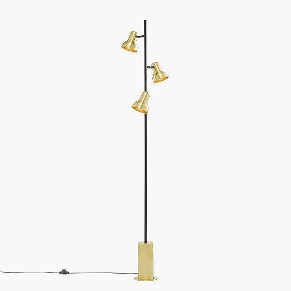Coluna Golden Art Escriba Tripla Linear Cupula Metal Dourado 170cm 3x E27 110v 220v Bivolt C1810-3 Sala Estar Quartos