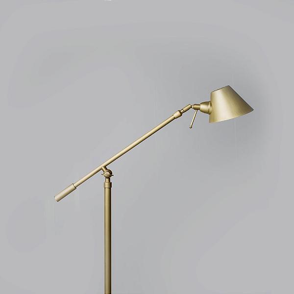 Coluna Luminária Chão Golden Art Dourada Com Articulação Metal Calha 110v 220v Bivolt 1,60m Altura (H) Zull G9 C786 Sala Estar Saguão