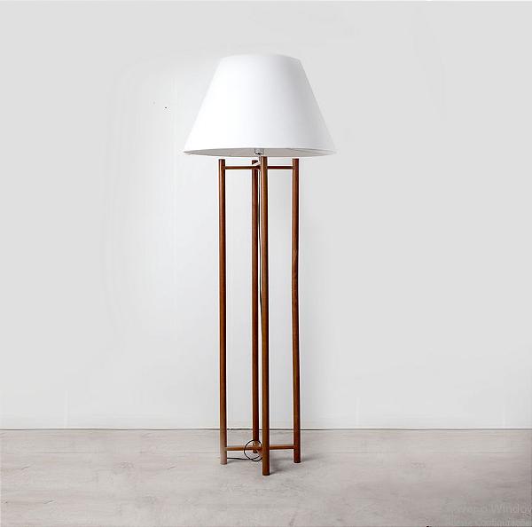 Coluna Golden Art Scaffo Linear Madeira Cupula Tecido 180x27cm 1x Lamp. E27 110v 220v Bivolt C749 Sala Estar Quartos