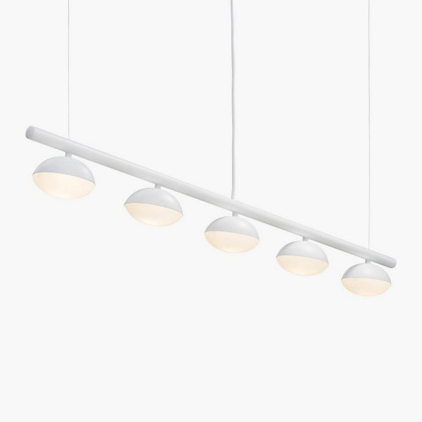 Lustre Golden Art Avelã LED 5 Focada Moderno Metal Branco 120cm 5x LED 3 Watts T1800-5 Mesas Balcões