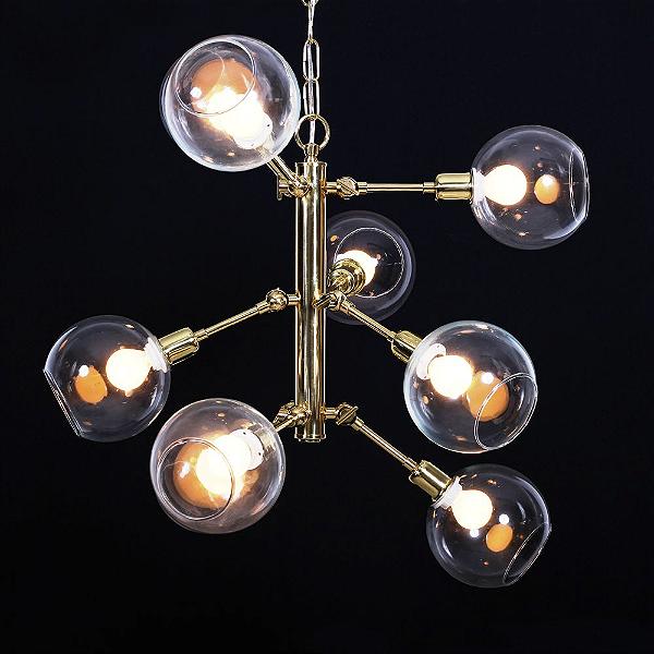 Lustre Golden Art Design Moderno Dourado Esferas Vidro 9 Lamp. 65x35 York E-27 T144-9 Cozinhas Quartos