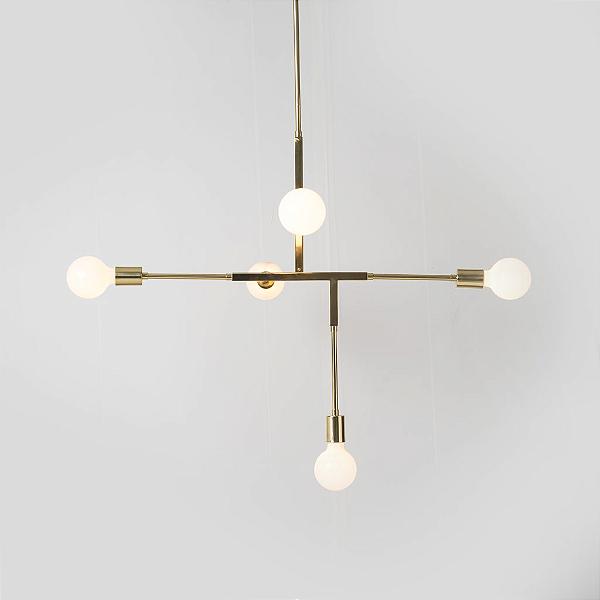 Lustre Golden Art Design Moderno Metal Dourado 5 Lamp. 83x56 Five E-27 T1550 Quartos Salas