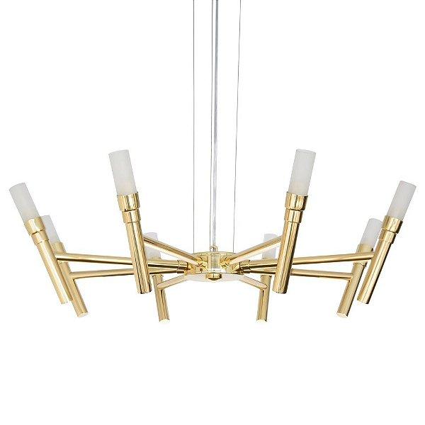 Lustre Golden Art Design Moderno Metal Dourado Cúpula Vidro 8 Lamp. Ø60 x 1m Montana G9 T1072-8 Sala Estar Saguão