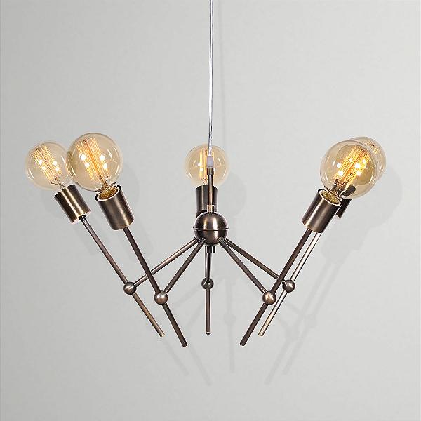 Lustre Golden Art Design Moderno Ouro Velho 5 Lamp. Ø57x1m Space E-27 T1560-5 Cozinhas Quartos