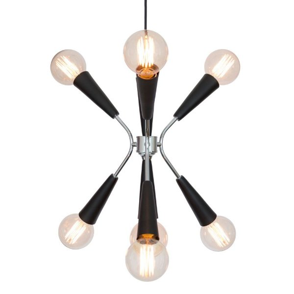 Lustre Golden Art Design Moderno Preto Fosco 7 Lamp. Cabo Regulável 36x40 Nasa E-27 T1070 Quartos Salas