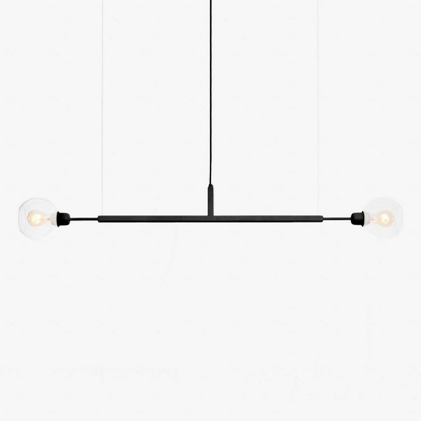 Lustre Golden Art Due G Horizontal Black Contemporãneo 1,3mt com Cúpula Vidro