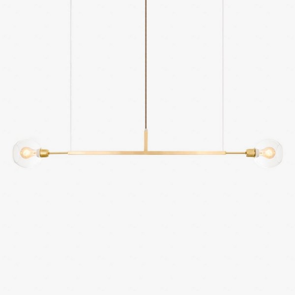 Lustre Golden Art Due G Horizontal Dourado Contemporãneo 1,3mt com Cúpula Vidro