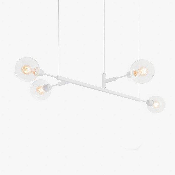 Lustre Golden Art Quattro G Contemporãneo Branco com Cúpula Vidro