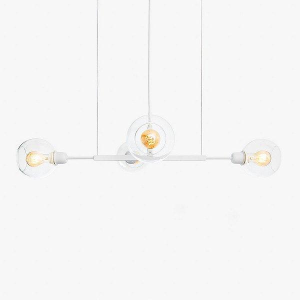 Lustre Golden Art Quattro P Contemporãneo Branco com Cúpula Vidro