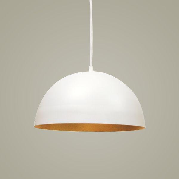 Pendente Golden Art 1/2 Esfera Suspenso Metal Branco 15x31cm 1x Lamp. E27 110v 220v Bivolt T949-31 Quartos Cozinhas