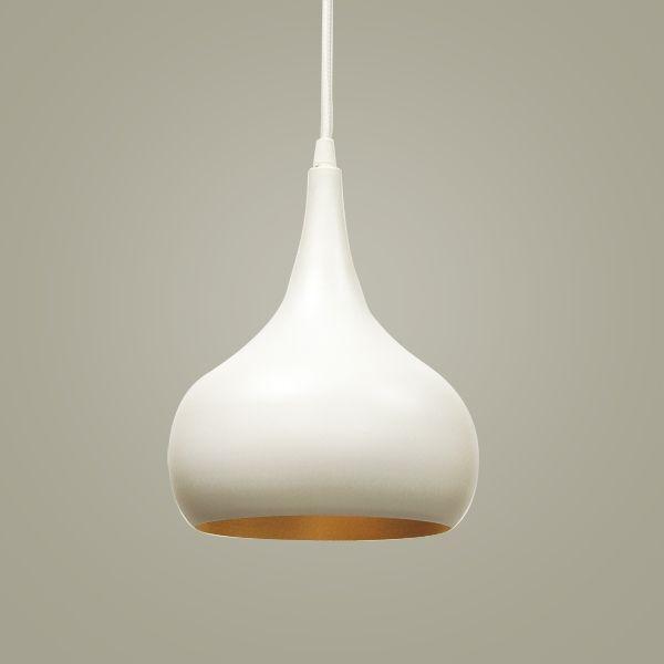 Pendente Golden Art Aladim Cone Metal Branco Dourado 20x27cm 1x Lamp. E27 110v 220v Bivolt T946 Mesas Cozinhas