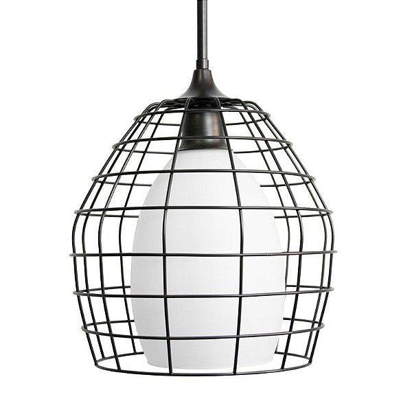 Pendente Golden Art Alambra Aramado Metal Preto Vidro Branco 24x30cm 1x Lamp. E27 110v 220v Bivolt T1030 Sala Estar Cozinhas