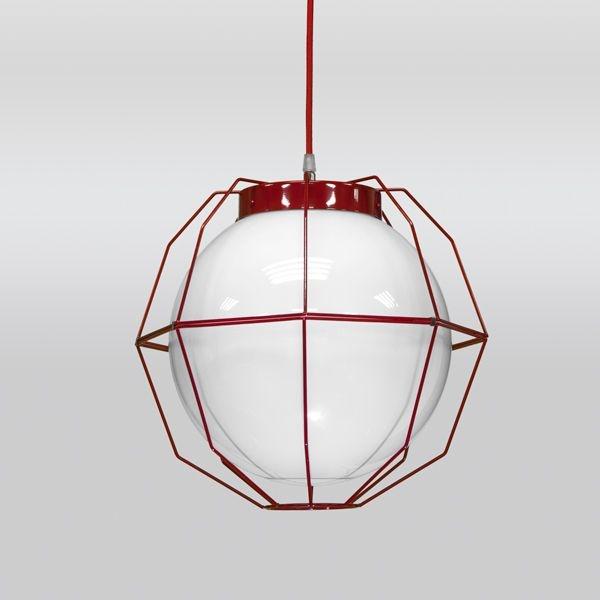 Pendente Golden Art Aramado Cores Personalizadas Vermelho Cúpula Vidro Leite 35x35 Aramis E-27 T242-1 Cozinhas Quartos