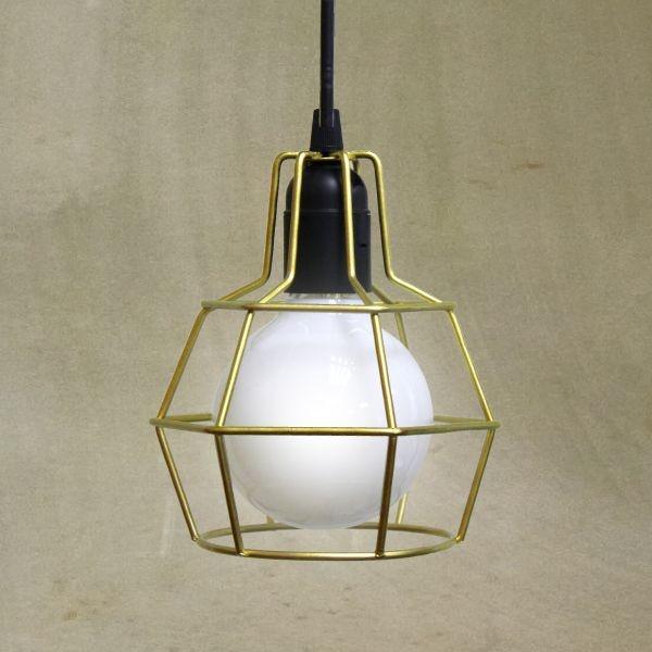 Pendente Golden Art Aramado Dourado Contemporâneo Ø14 Pucon E-27 T203-1 Quartos Salas