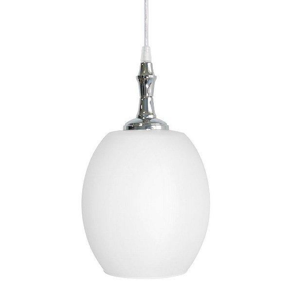 Pendente Golden Art Barrica Cupula Vidro Oval Branco Metal 24x14cm 1x Lamp. E27 110v 220v Bivolt T1049 Cozinhas Salas