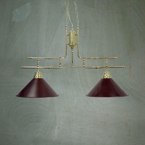 Pendente Golden Art Bilhar Sinuca Duplo Vintage Dourado Cúpula Colorida 2 Lamp. 30x80 E-27 T140-2 Hall Salas