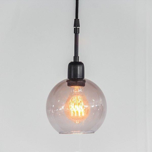Pendente Golden Art Bolha Suspenso Metal Preto Esfera Vidro 27x15cm 1x Lamp. E27 T1466 Hall Cozinhas