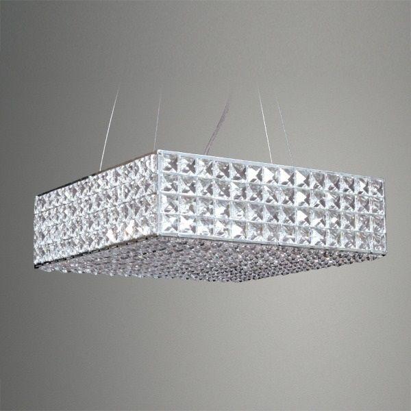 Pendente Golden Art Cristal Quadrado Sobrepor Contemporâneo 10x45cm 1x G9 Halopin 110v 220v Bivolt T956-45 Sala Estar Hall