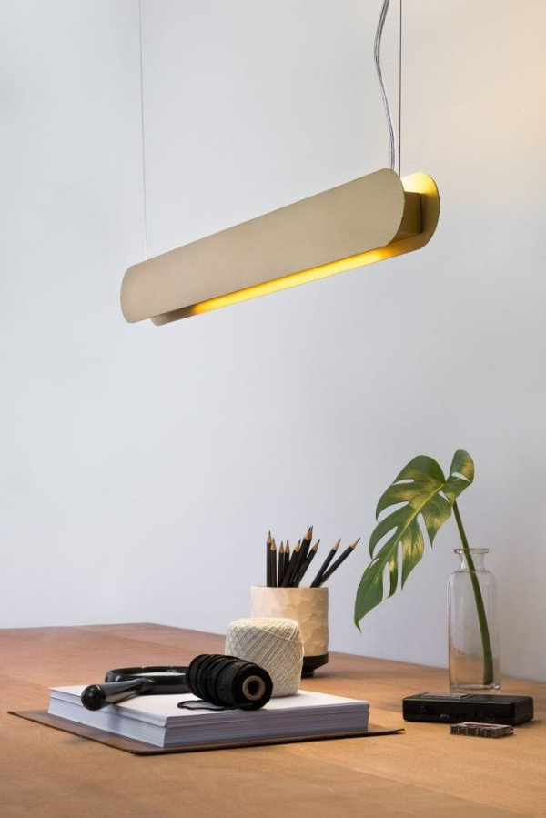 Pendente Golden Art Barra Suspenso 80cm Contemporãneo para Lamp. T8 Led (ACABAMENTO COM BANHO ESPECIAL)