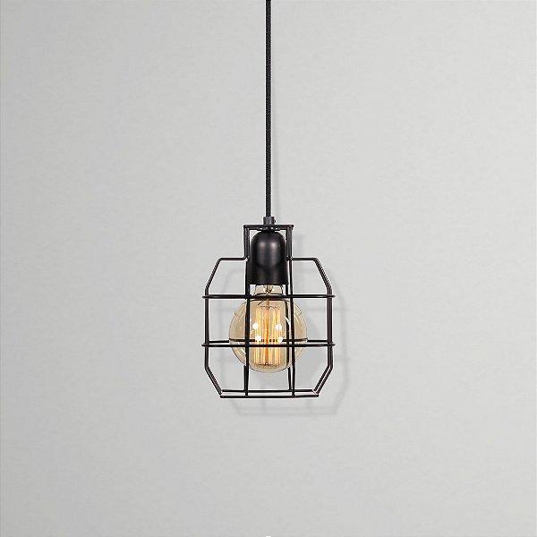 Pendente Golden Art Granada Suspenso Aramado Metal Preto 20x15cm 1x Lamp. E27 110v 220v Bivolt T214 Sala Estar Cozinhas